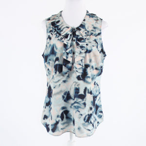 Dark blue abstract button chest NEW YORK and COMPANY sleeveless blouse L