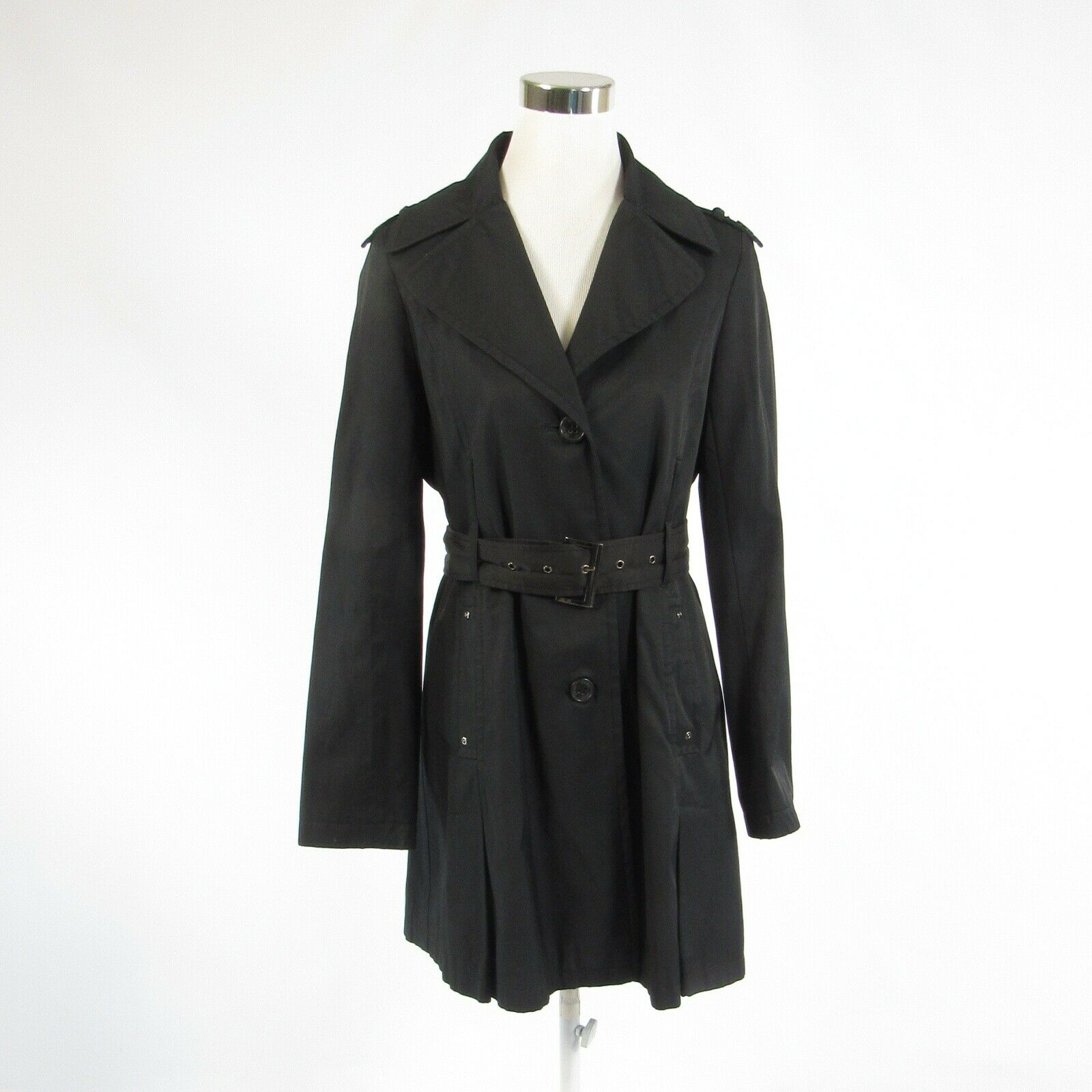 Charcoal gray cotton blend DKNY NEW YORK belted waist long sleeve trench coat M-Newish
