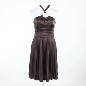 Dark brown CACHE halter neck A-line dress 6