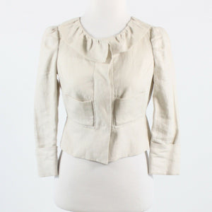 Light beige 100% linen ANTHROPOLOGIE ELEVENSES 3/4 sleeve jacket 0