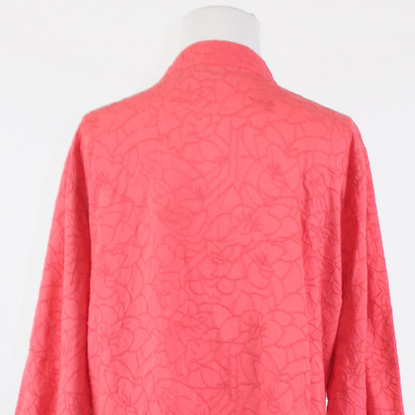 Salmon pink floral embroidered open front 100% cotton CHICO'S jacket 3 L 16