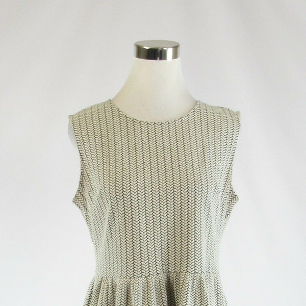 Olive green ivory geometric cotton blend ANN TAYLOR LOFT A-line dress 8-Newish