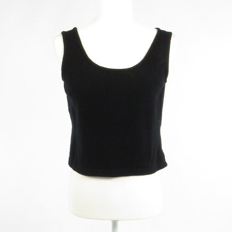 Black 100% cotton ST. JOHN Basics stretch sleeveless tank top blouse S