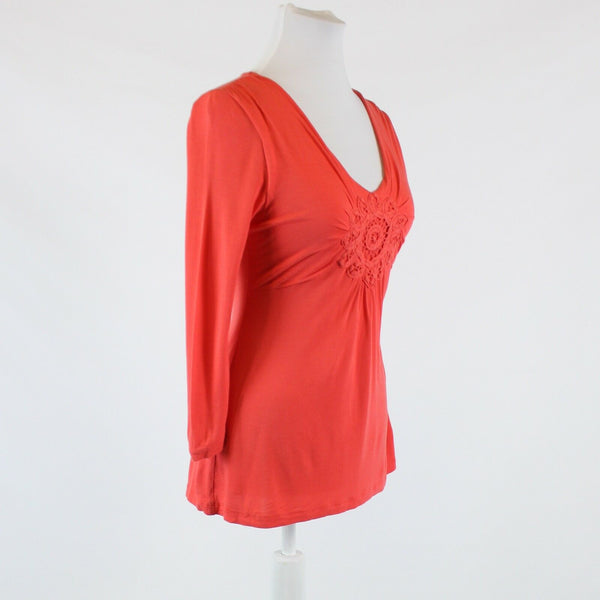 Salmon pink KENAR 3/4 sleeve v-neck embroidered trim blouse S