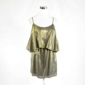 Metallic gold cotton blend ELIZABETH AND JAMES spaghetti strap tiered dress XS-Newish