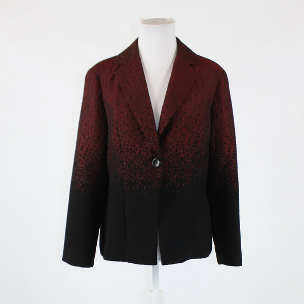 Red black geometric COLDWATER CREEK long sleeve blazer jacket PM