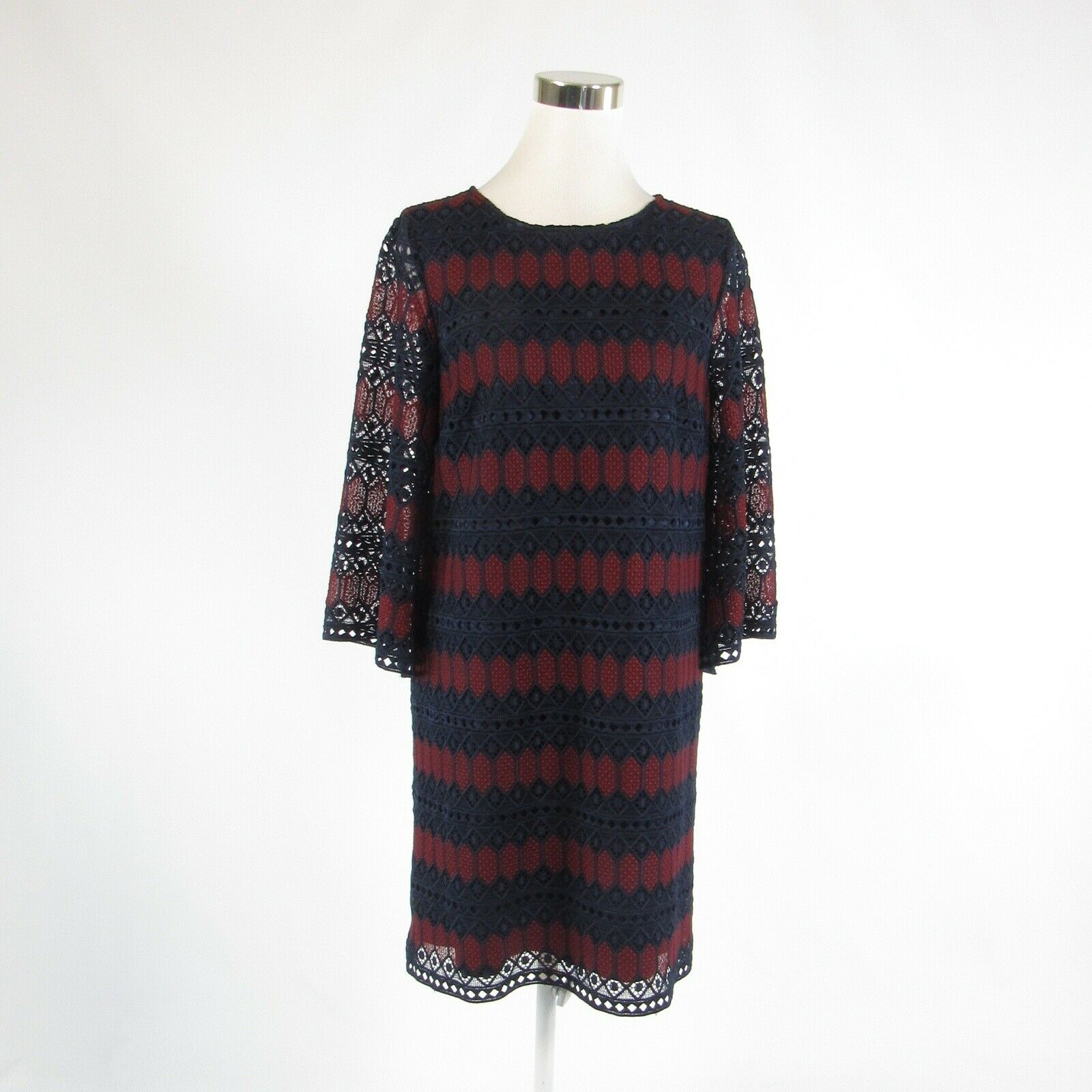 Navy blue red geometric TAHARI Arthur S. Levine bell sleeve shift dress 8-Newish