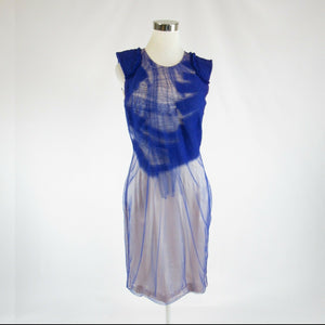 Blue sheer overlay silk RUE DU MAIL sleeveless sheath dress IT40 6-Newish