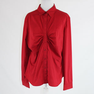 Red cotton blend NEW YORK and COMPANY long sleeve button down blouse 16