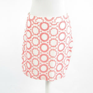 White red geometric 100% cotton BANANA REPUBLIC Milly Collection A-line skirt 8