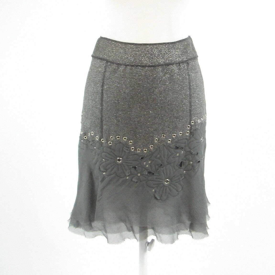 Gray silver wool blend PER SE embroidered trim shimmery A-line skirt 0-Newish