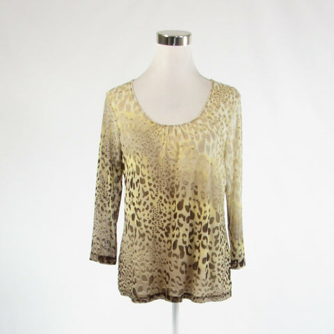 Light beige taupe cheetah CHICO'S stretch 3/4 sleeve blouse 2 M 12