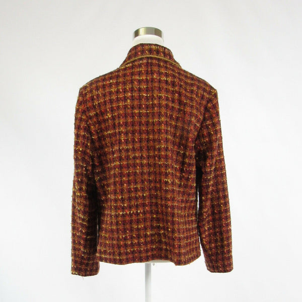 Dark orange plaid tweed COLDWATER CREEK long sleeve jacket L-Newish