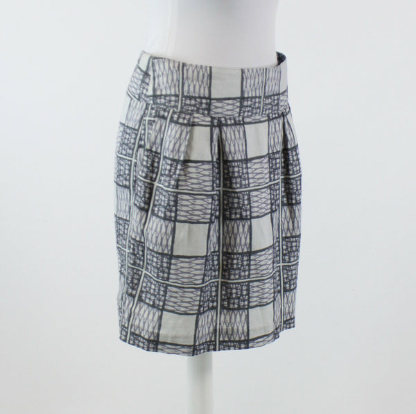 Multi gray geometric linen blend BANANA REPUBLIC pleated front skirt 6