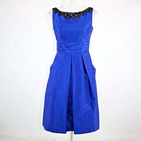 Royal blue 100% silk KAY UNGER rhinestone trim box pleated tea dress 2