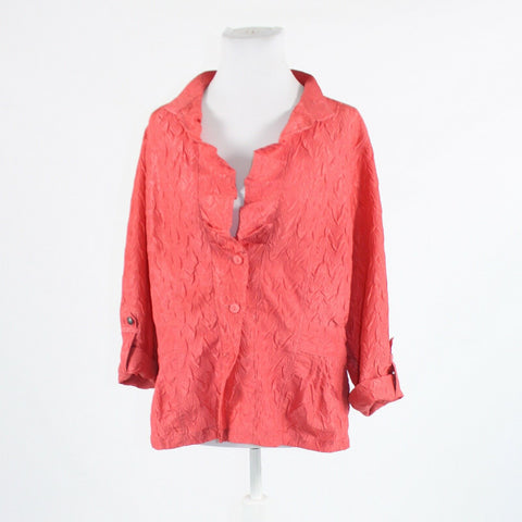 Salmon pink textured CHICO'S long sleeve jacket 2 M 12