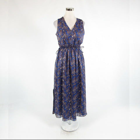 Dark blue brown paisley BANANA REPUBLIC sleeveless A-line dress PS