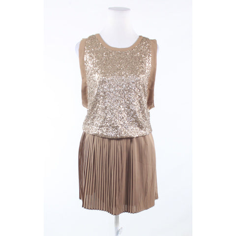 Khaki gold sequin C. LUCE sleeveless blouson dress S