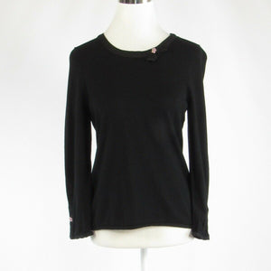 Black SIGRID OLSEN stretch 3/4 sleeve knit blouse M