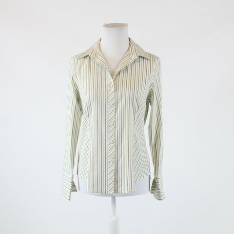 White green beige striped cotton blend TALBOTS long sleeve button down blouse 8P