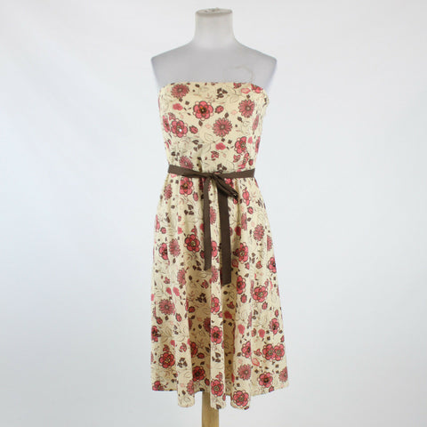Cream pink brown floral 100% cotton ANN TAYLOR LOFT strapless knee-length dress