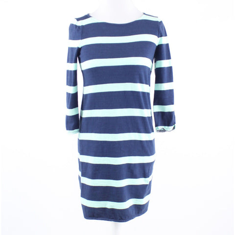 Navy blue green striped stretch 100% cotton J. CREW 3/4 sleeve sheath dress XS
