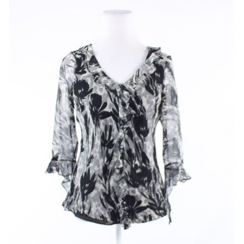 Gray black floral print 100% silk ICE semi-sheer bell sleeve blouse S