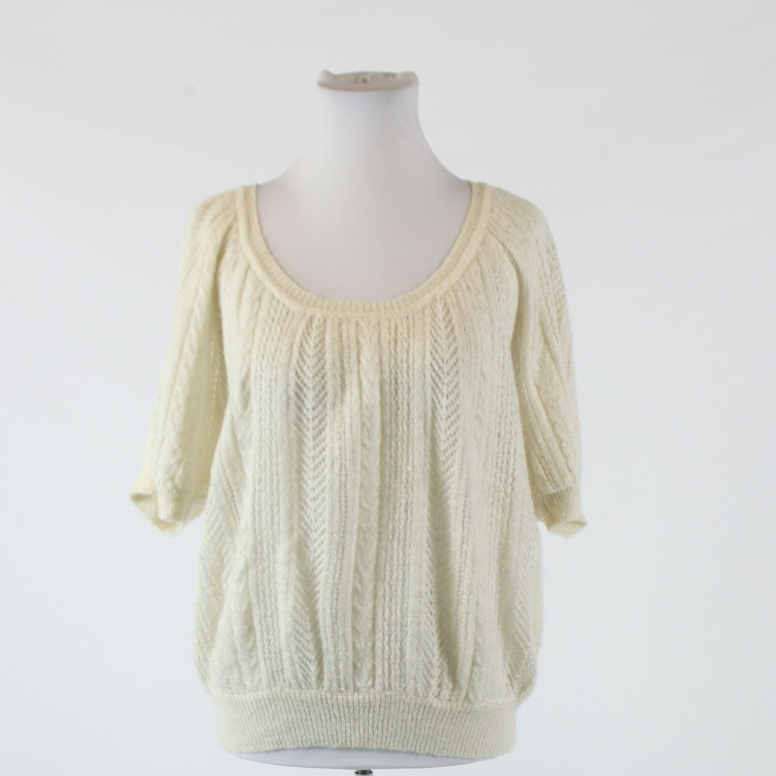 Ivory shimmery EXPRESS short sleeve scoop neck loose knit sweater blouse S