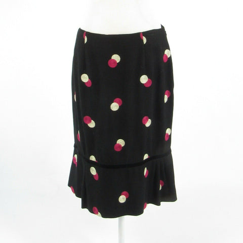 Black pink polka dot wool blend ETCETERA pencil skirt 8-Newish
