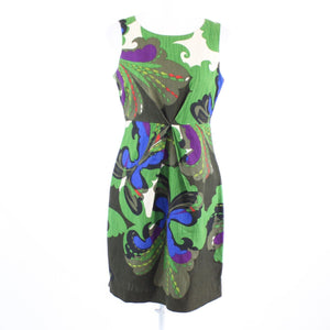 Green brown ivory blue geometric SEMANTIKS sleeveless A-line dress PS