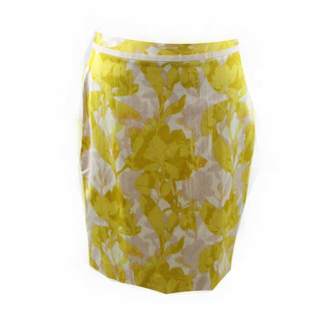 Yellow white floral BANANA REPUBLIC A-line skirt 8P