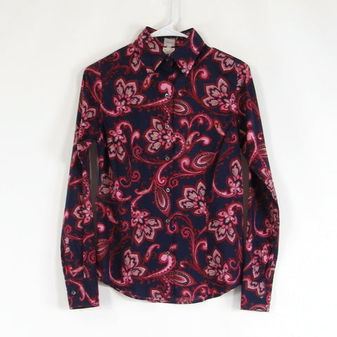 Navy blue red paisley CRAIG TAYLOR long sleeve button down blouse XS
