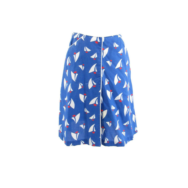 Blue white sailboat print cotton MEADOWBANK A-line vintage skirt 10 S