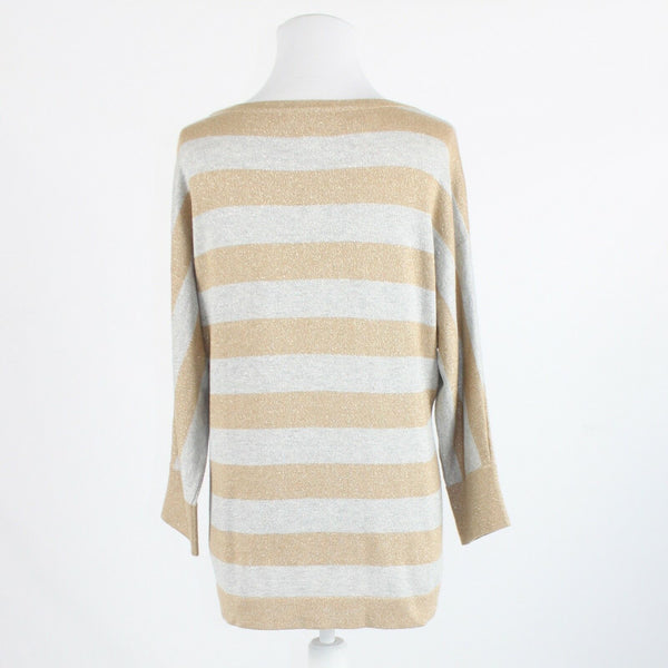 Beige gray striped shimmery COLDWATER CREEK 3/4 sleeve scoop neck sweater M