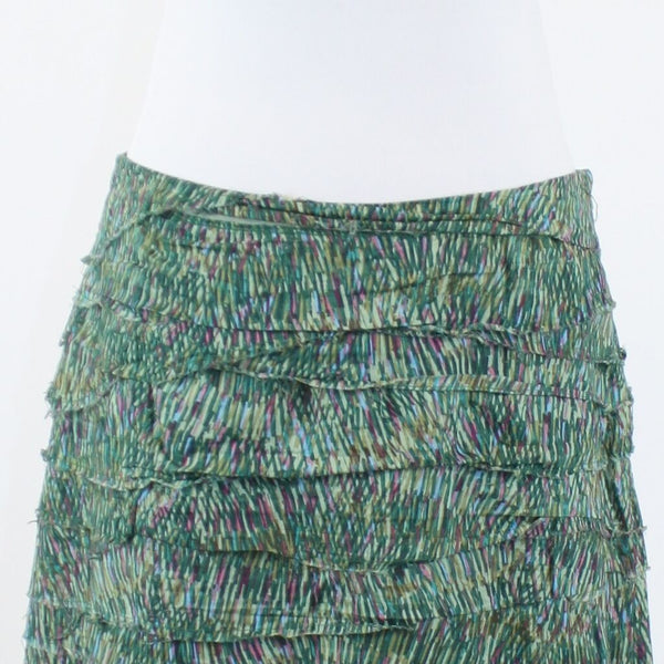 Green pink and blue geometric 100% cotton JACK tiered mini skirt 10