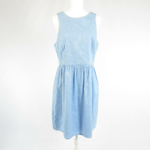 Light blue floral cotton 4C sleeveless A-line dress 12