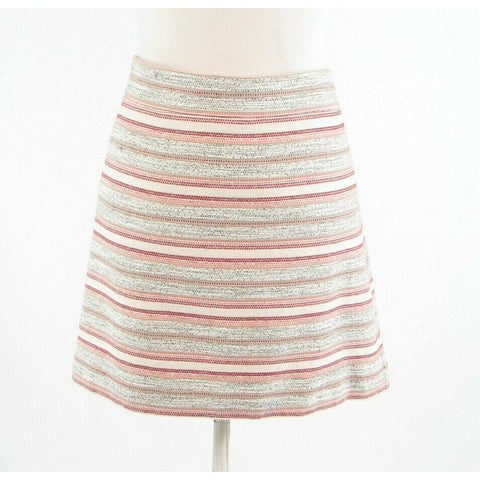 Ivory black uneven striped cotton blend ANN TAYLOR LOFT A-line skirt 14P