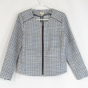 White blue textured J. CREW front zip blazer jacket S