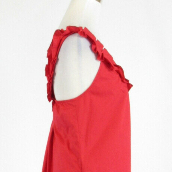 Red cotton blend FEI sleeveless shift dress 8-Newish