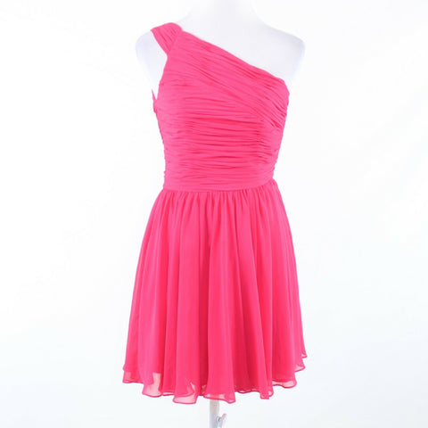 Bright pink HALSTON HERITAGE sheer overlay sleeveless one shoulder dress 0