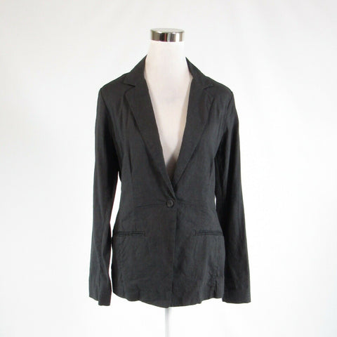 Charcoal gray linen blend EILEEN FISHER stretch long sleeve blazer jacket 10