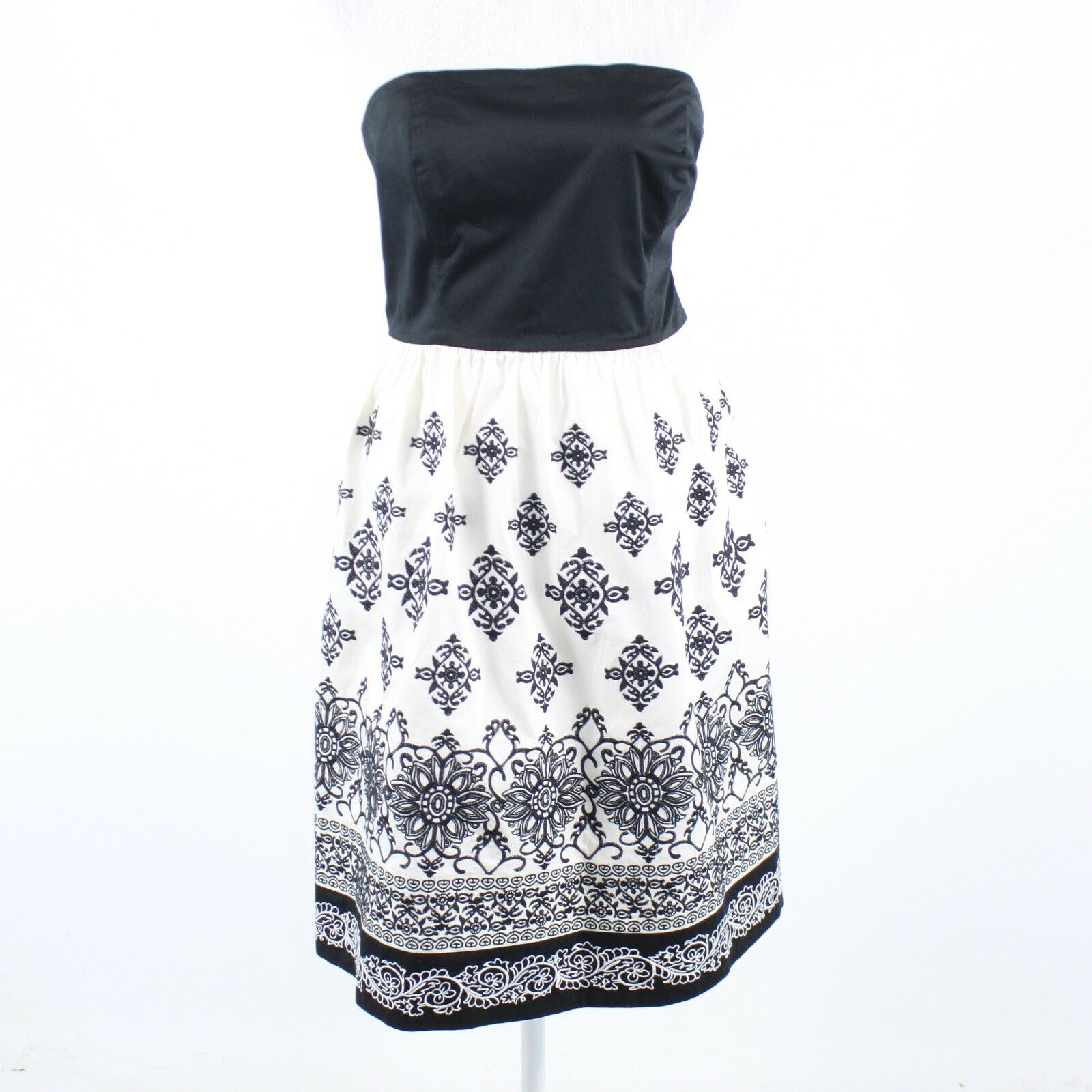 Black white geometric embroidered WHITE HOUSE BLACK MARKET strapless dress 14-Newish