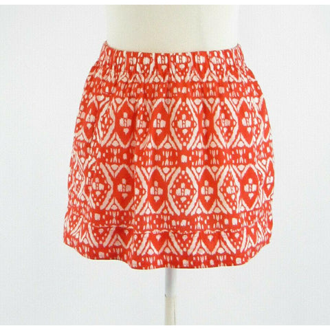 Orange white geometric cotton J. CREW stretch A-line skirt XS-Newish