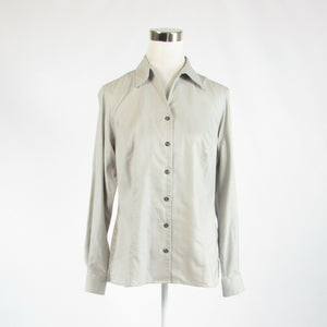 Light gray 100% cotton TWIN HILL long sleeve button down blouse 10-Newish