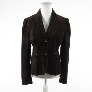 Dark brown gray striped velvet FILLMORE long sleeve jacket L