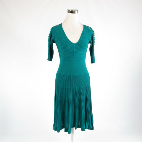 Teal green beige CATHERINE MELANDRINO stretch 1/2 sleeve A-line dress S