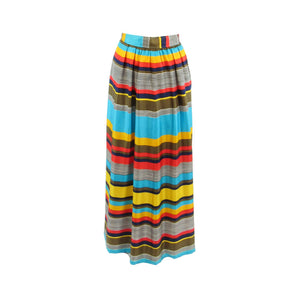Turquoise blue yellow uneven striped vintage maxi skirt XS-Newish