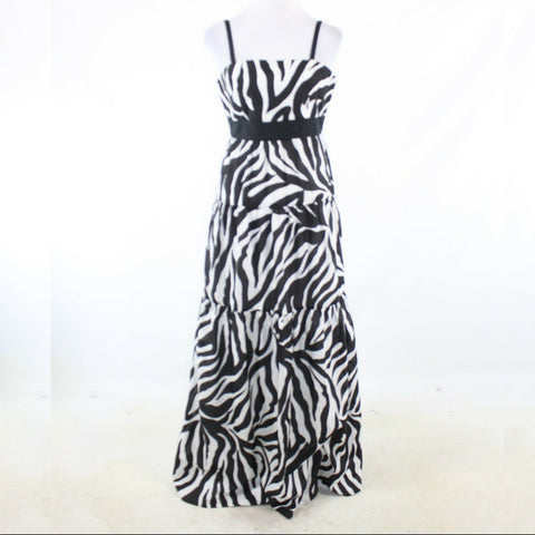 Black white zebra cotton blend DONCASTER spaghetti strap maxi dress 4