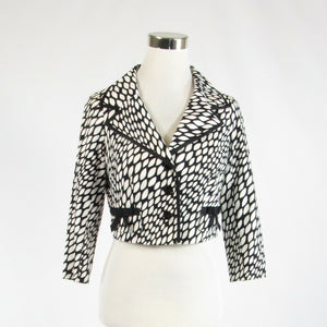 Black white geometric cotton blend TERI JON 3/4 sleeve blazer jacket 2-Newish