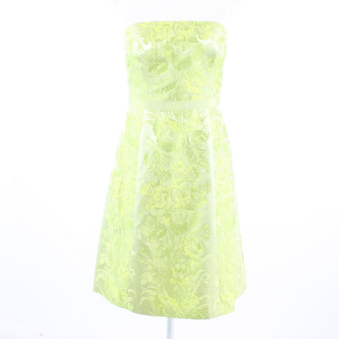 Light green yellow floral print satin ANN TAYLOR strapless A-line dress 4P